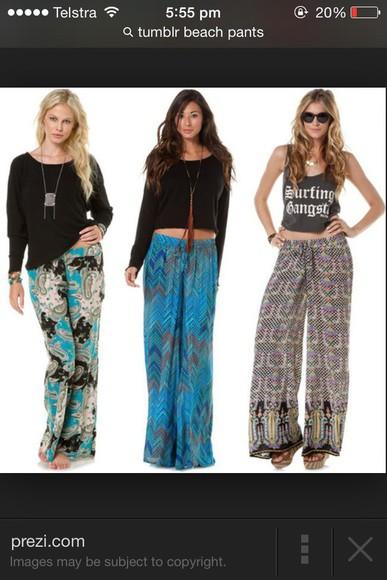 flowy beach beach pants print