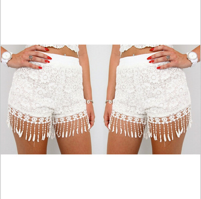 2014 New Arrival European Style Women Summer Lace Shorts Ladies White Lace Tassel Shorts S M L Plus Size LD0709-in Shorts from Apparel & Accessories on Aliexpress.com