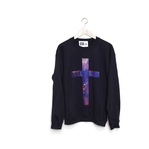 Crew Sweater Galaxy Cross - Polyvore