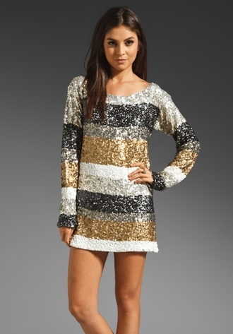 dress sparkle stripes long sleeves