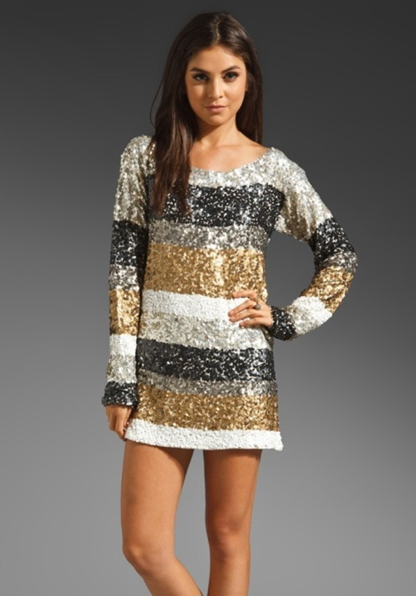 dress sparkle stripes long sleeves sparkly dress paillettes outfit