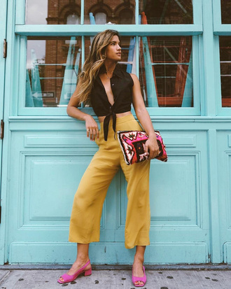 pants yellow yellow pants cropped pants culottes shoes slingbacks pink shoes top black top sleeveless sleeveless top