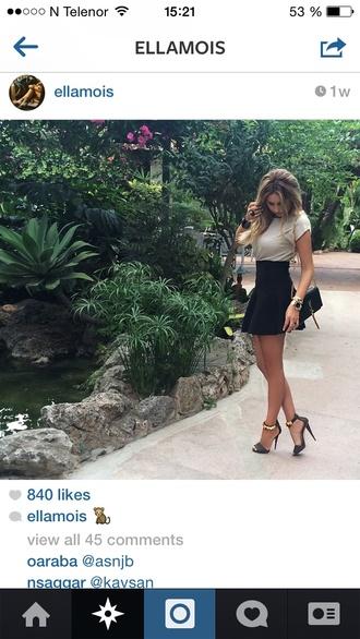 beige clothes high heels luxury handbag yves saint laurent skirt girly