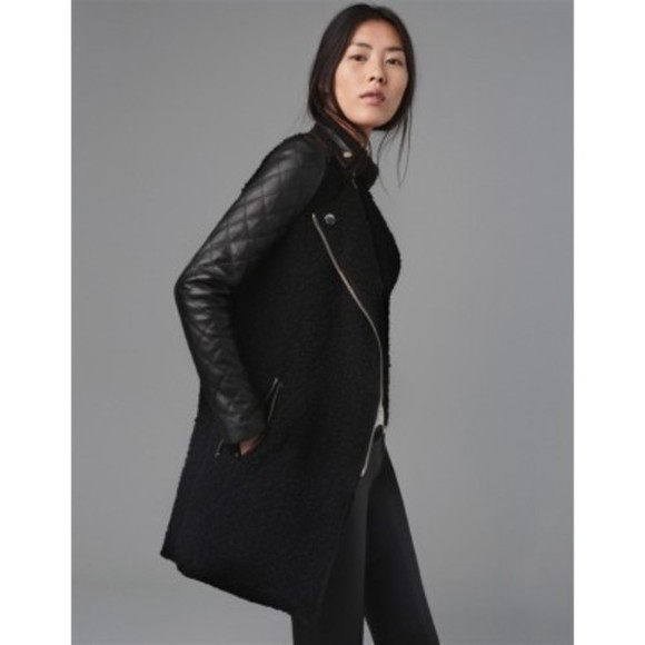 coat coat with leather sleeves wool and leather coat