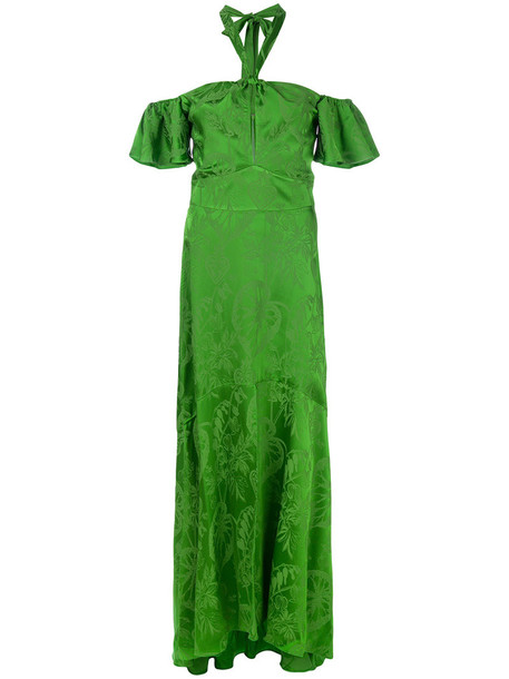 Temperley London dress women spandex silk green
