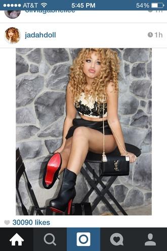 shoes blonde curls jadahdoll cute cute shoes pose model blonde hair red bottom heels red bottoms booties ysl