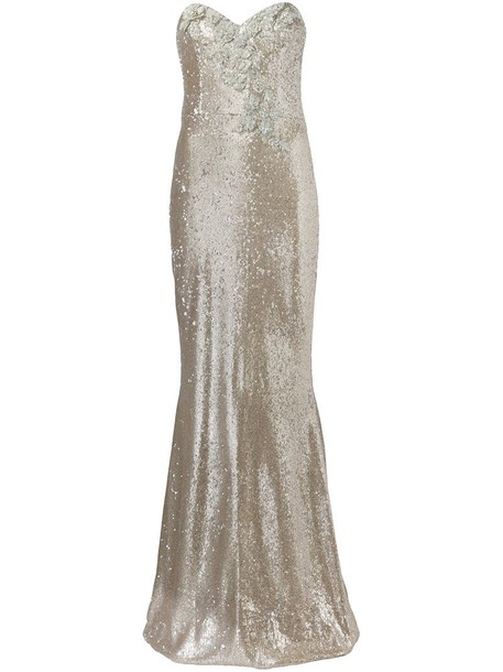 Marchesa Notte gown embellished metallic dress