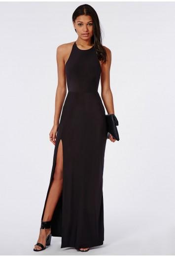 478e6ad28915 Missguided - Slinky Side Split Maxi Dress Black