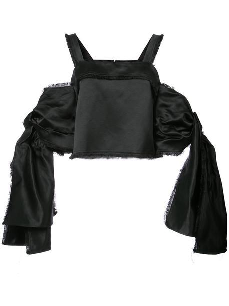 top bow women cotton black silk