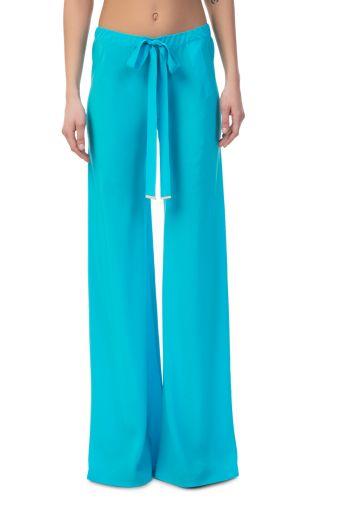 Roberto Cavalli - Wide Leg Blue Silk Pants