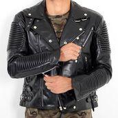 jacket,maniere de voir,ribbed,leather,biker,studded,tassle,faux,buckles,36683