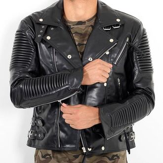 jacket maniere de voir ribbed leather biker studded tassle faux buckles 36683