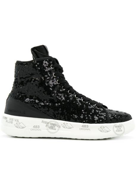 Premiata women sneakers leather black shoes