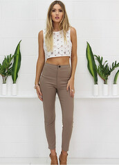 pants,taupe pants,taupe,cropped pants,cropped trousers,roll up,taupe trousers,taupe leggings,taupe jeggings
