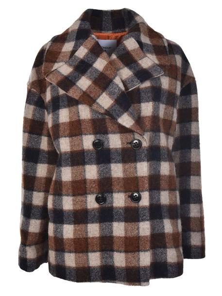 DONDUP coat pea coat gingham
