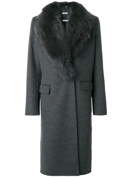 P.A.R.O.S.H. coat fur fox women cotton wool grey