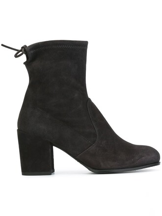 women boots ankle boots leather suede satin grey shoes
