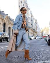 shoes,boots,suede boots,brown boots,mi,mid heel boots,denim,jeans,boyfriend jeans,denim jacket,trench coat,printed shirt,sunglasses,earrings