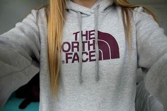 sweater north face sweatshirt grey maroon/burgundy