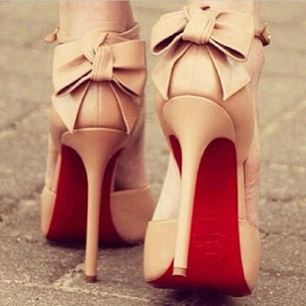 Shoes: pumps, bows, nude heels, nude pumps, heels, cute high heels ...