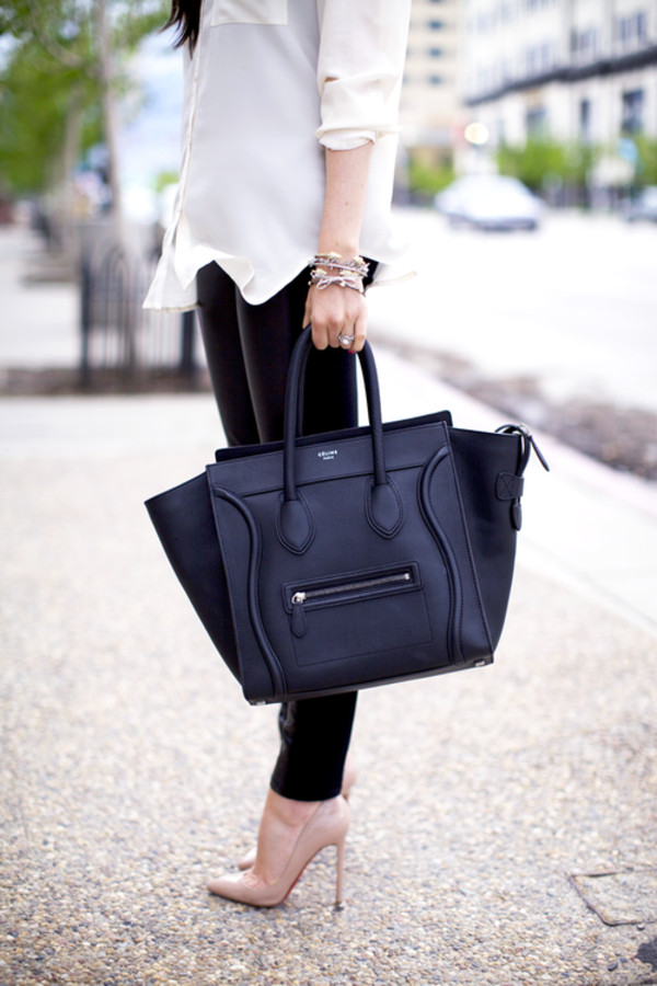 Celine Mini Luggage Tote Bag Black PEBBLED Textured Leather $3000 ...