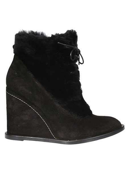 PALOMA BARCELÒ fur ankle boots black shoes