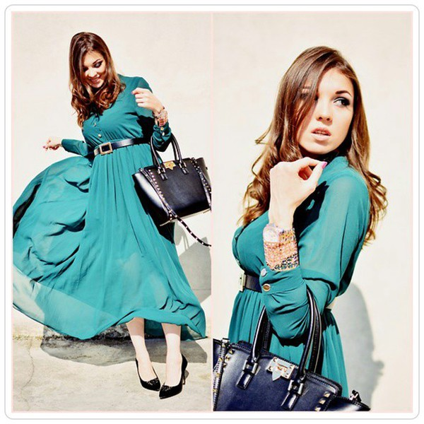 e4aa13a85c6c Glamorous Dark Green Long-Sleeve Maxi Chiffon Dress - OASAP.com