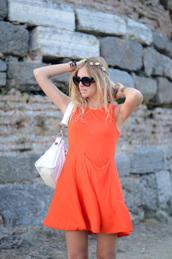 orange dress,pockets,high neck,mini dress,orange,dress