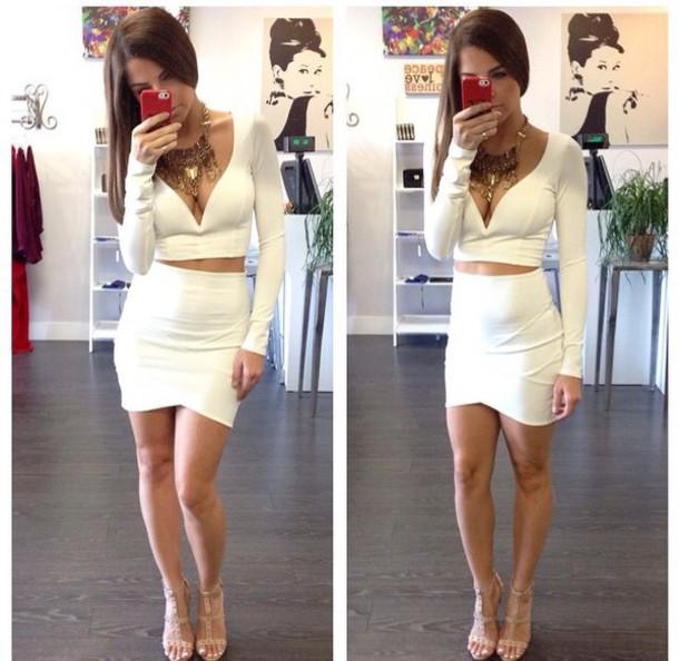 dress white dress 2 piece skirt set club dress clubwear
