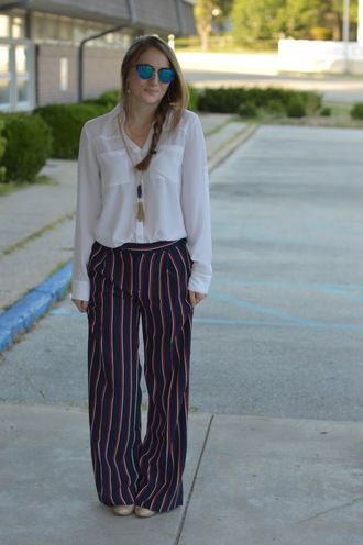a memory of us blogger pants blouse sunglasses shoes jewels bag striped pants wide-leg pants white shirt office outfits mirrored sunglasses tassel necklace spring outfits