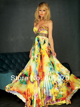 Custom Made Sweetheart Floor Length print fabric beaded prom dresses sexy evening dresses-in Prom Dresses from Apparel & Accessories on Aliexpress.com