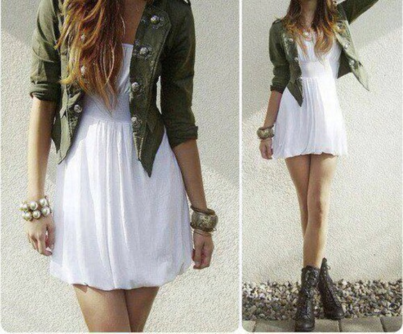 hipster jacket shoes green jacket dress white white dress jewels earing bracelets fashion style summer dress buttons boots black boots