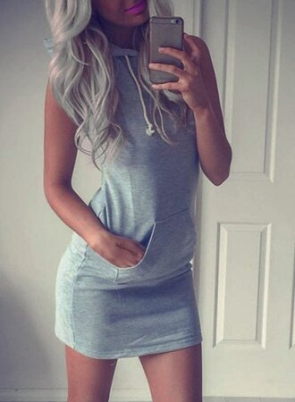 dress grey sporty trendy fashion cool stylish hooded sleeveless pocket design bodycon dress for women summer pockets rosegal-jan jumpsuit