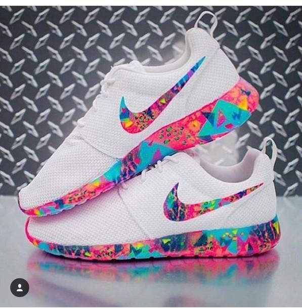 shoes roshe runs multi colour swoosh colorful nike roshe run nike roshes  multicolor white sneakers low afeacd1d6