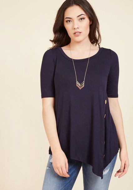 Kt326 blouse top blue top asymmetrical soft navy blue knit