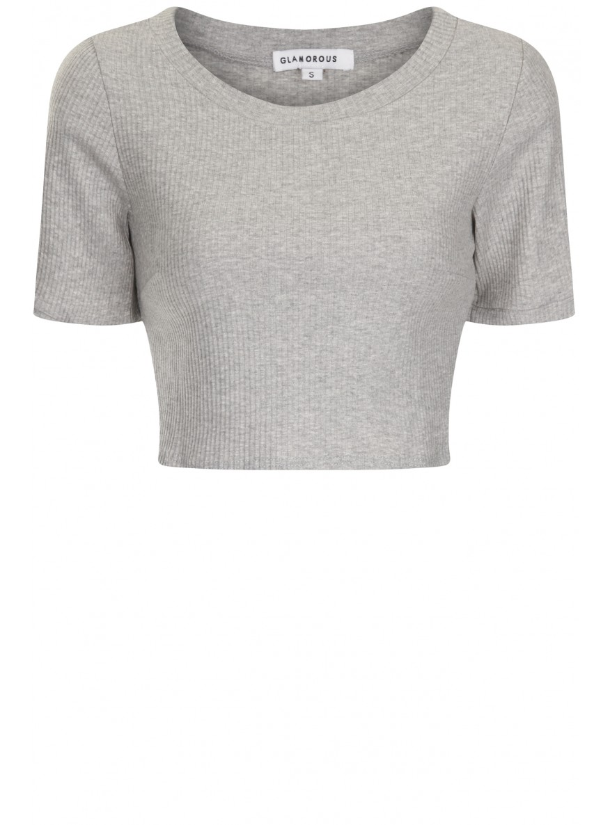 e4312fed25a Grey Ribbed Short Sleeve Crop Top