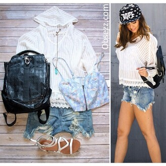 top obsezz hoodie summer hoodie see through lace white white top white hoodie stylish fashion hipster