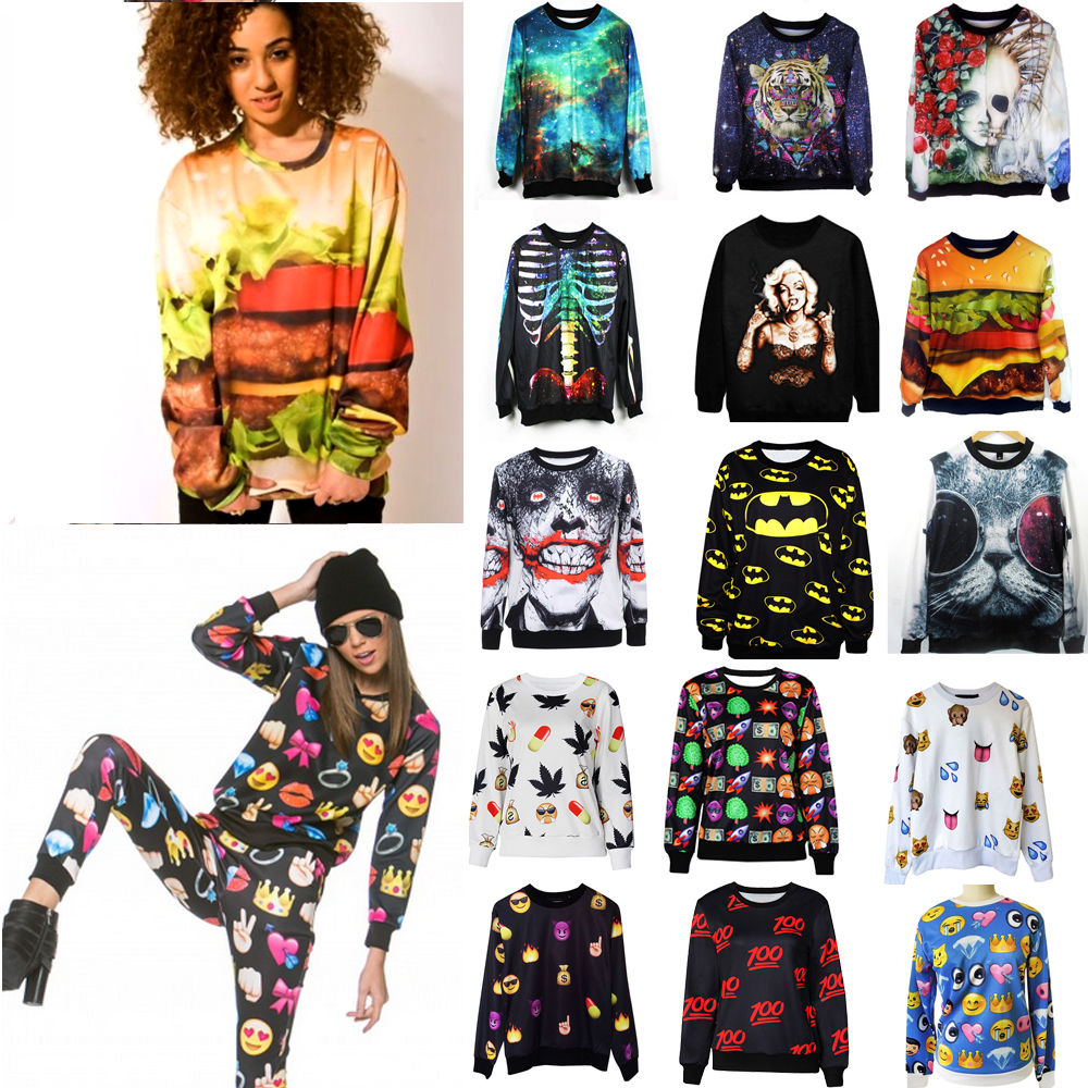 Casual long sleeve sweatshirt pullover 3d print tops sweaters t