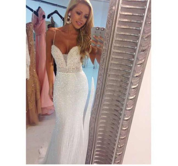 dress sherri hill white glitter glittery white shiny perfect clean