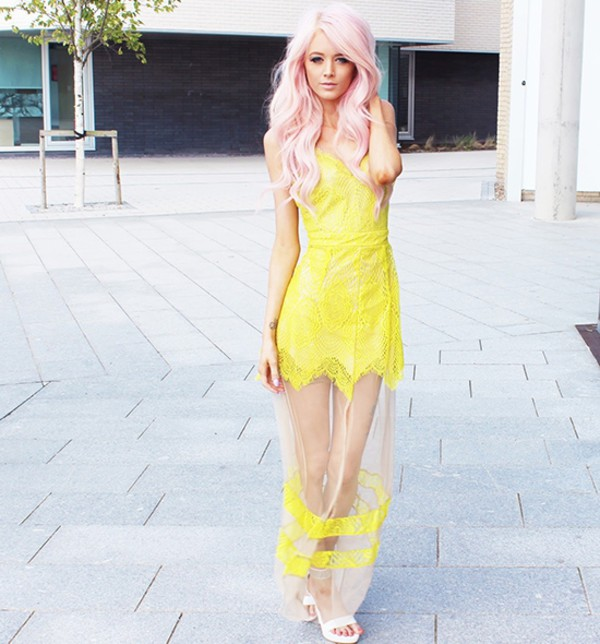lace mesh dress see through dress yellow dress sexy dress stylemoi elegant dress streetstyle summer dress