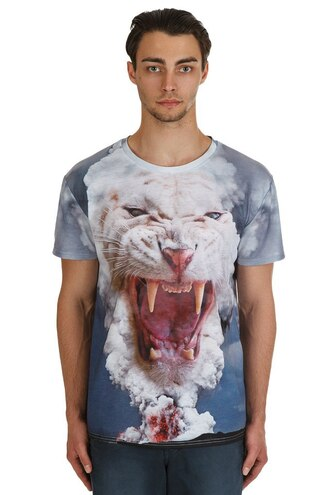 t-shirt print all over print full print printed t-shirt tiger tiger print animal print mens t-shirt menswear