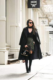 wendy's,lookbook,blogger,coat,sweater,skirt,shoes,bag,sunglasses,top,thigh high boots,boots,black coat,green skirt,black top