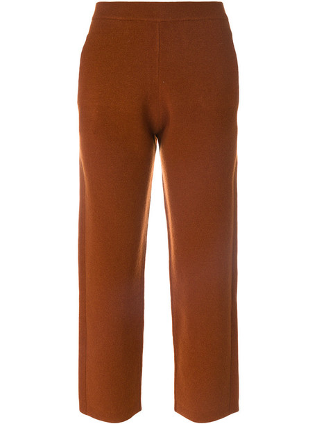 cropped women spandex wool brown pants