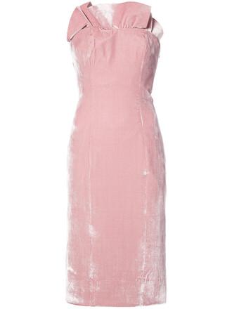 dress midi dress strapless women midi silk purple pink
