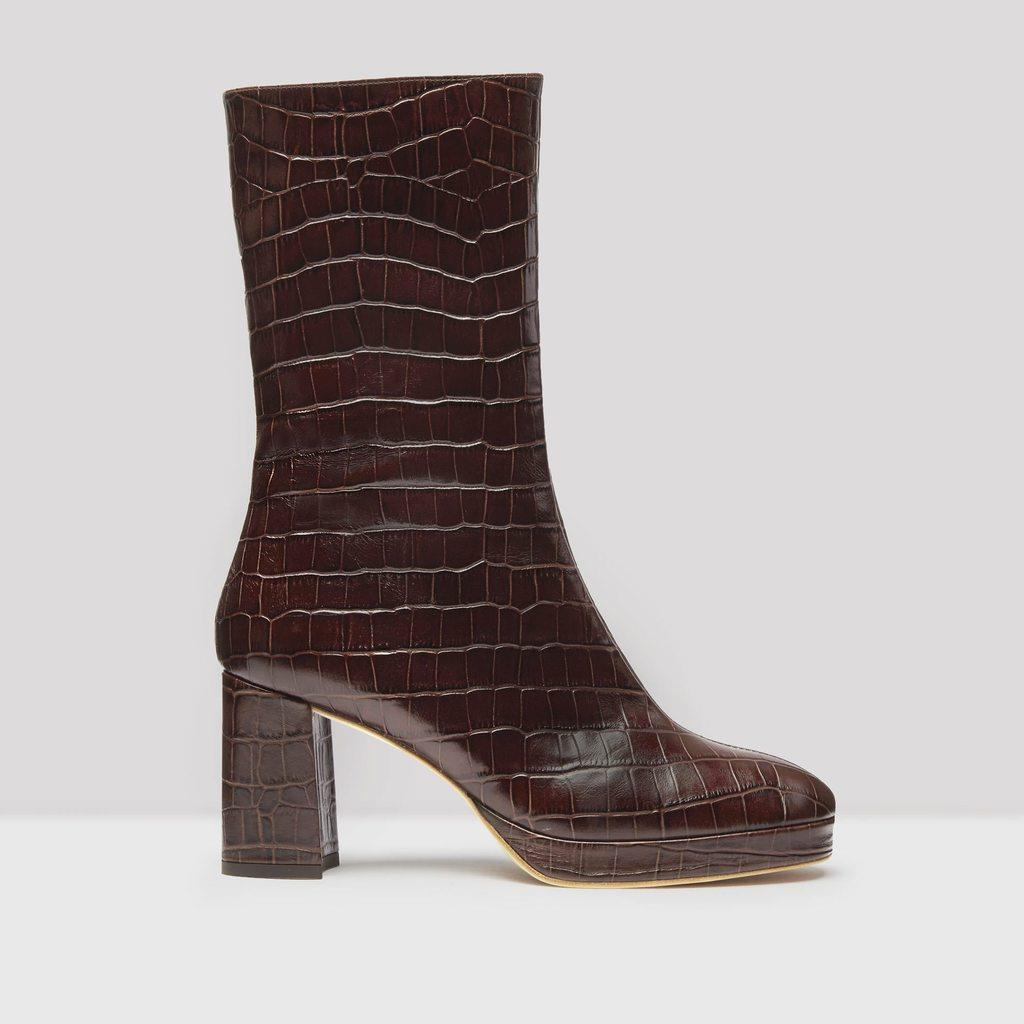 Carlota Mahogany Croc Leather Boots