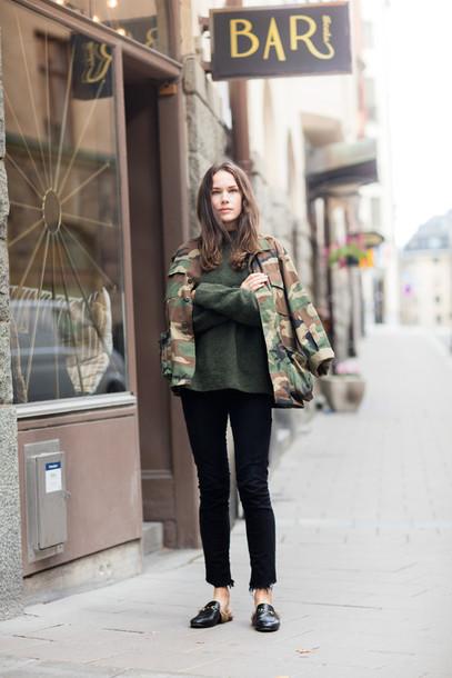 carolines mode blogger sweater jacket jeans shoes