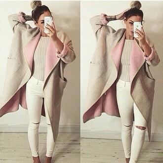 jacket long pink beige stylish classy jacket drreamtaker post