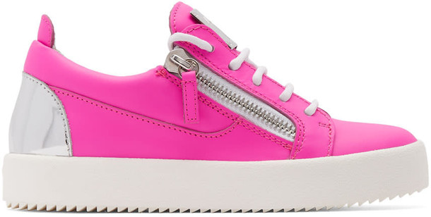 Giuseppe Zanotti neon london sneakers silver pink shoes