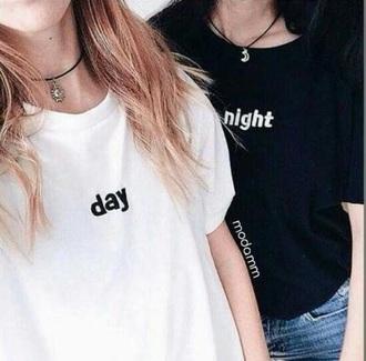 shirt black and white day night cute bestfriend shirt