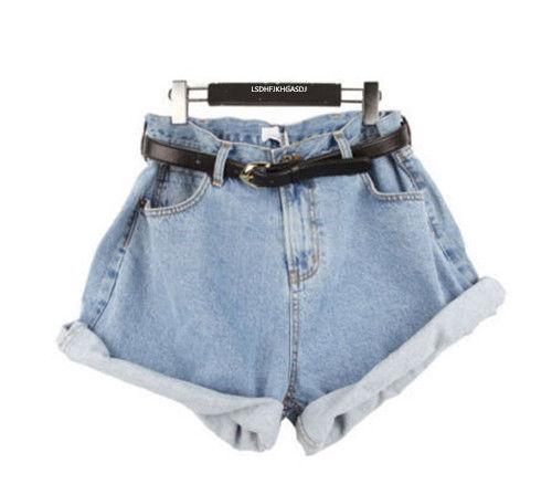 Summer Women Girl High Waisted Oversize Crimping Boyfriend Jeans Shorts Pants